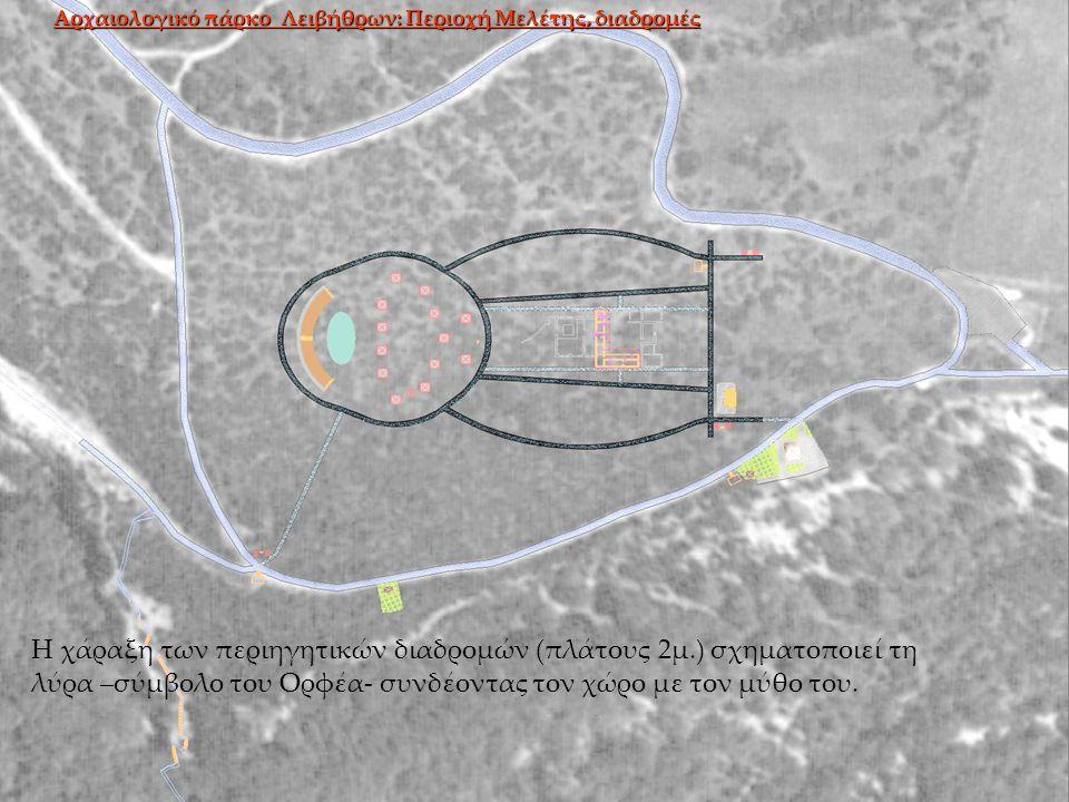 Η χάραξη των περιηγητικών διαδρομών (πλάτους 2μ.) σχηματοποιεί τη λύρα –σύμβολο του Ορφέα- συνδέοντας τον χώρο με τον μύθο του.