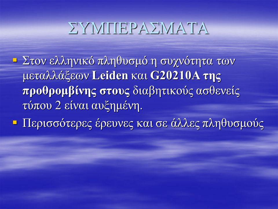ΣΥΜΠΕΡΑΣΜΑΤΑ  Στον ελληνικό πληθυσμό η συχνότητα των μεταλλάξεων Leiden και G20210A της προθρομβίνης στους διαβητικούς ασθενείς τύπου 2 είναι αυξημέν