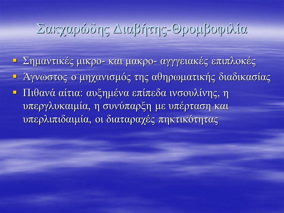 Σακχαρώδης Διαβήτης-Θρομβοφιλία  Σημαντικές μικρο- και μακρο- αγγγειακές επιπλοκές  Άγνωστος ο μηχανισμός της αθηρωματικής διαδικασίας  Πιθανά αίτι