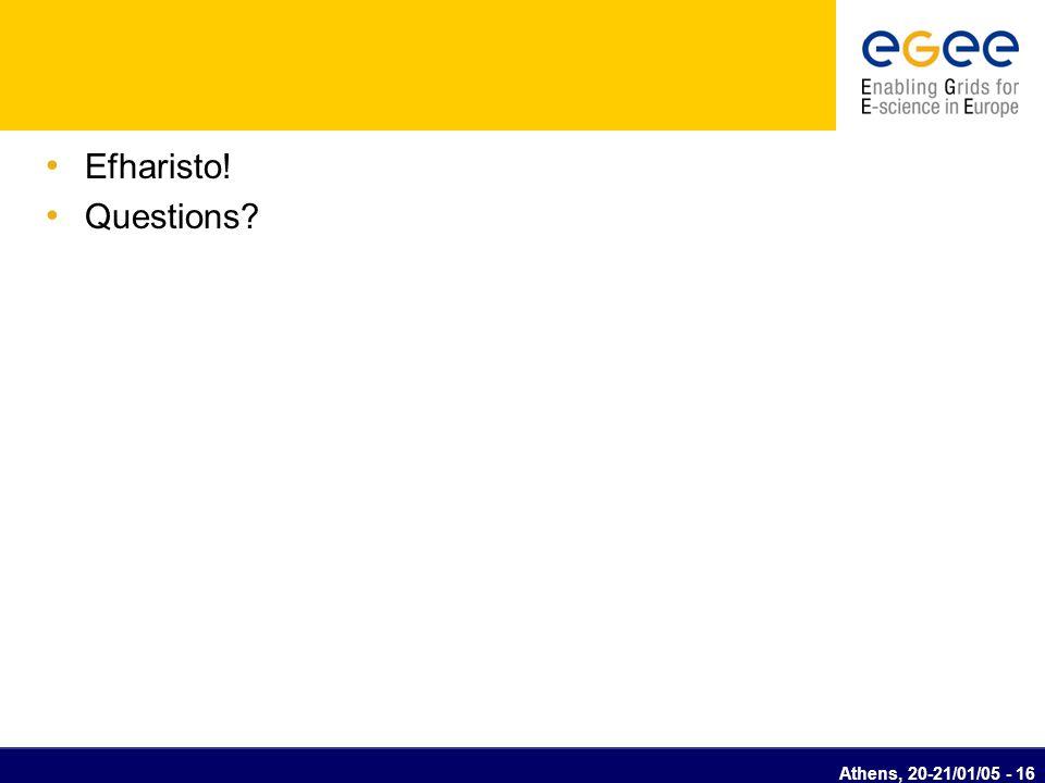 Athens, 20-21/01/05 - 16 Efharisto! Questions?