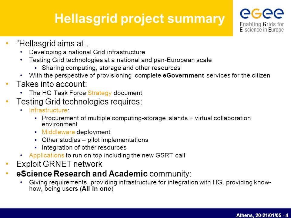 "Athens, 20-21/01/05 - 4 Hellasgrid project summary ""Hellasgrid aims at.. Developing a national Grid infrastructure Testing Grid technologies at a nati"