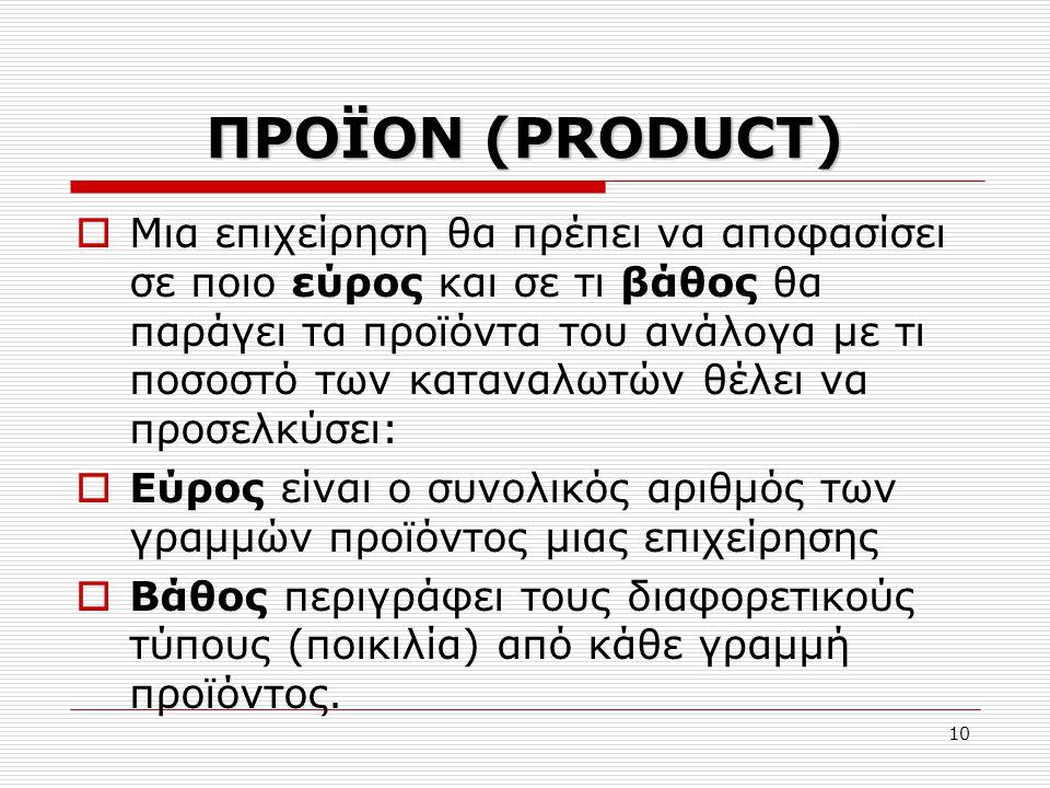 10 ΠΡΟΪΟΝ (PRODUCT)  Μια επιχείρηση θα πρέπει να αποφασίσει σε ποιο εύρος και σε τι βάθος θα παράγει τα προϊόντα του ανάλογα με τι ποσοστό των κατανα