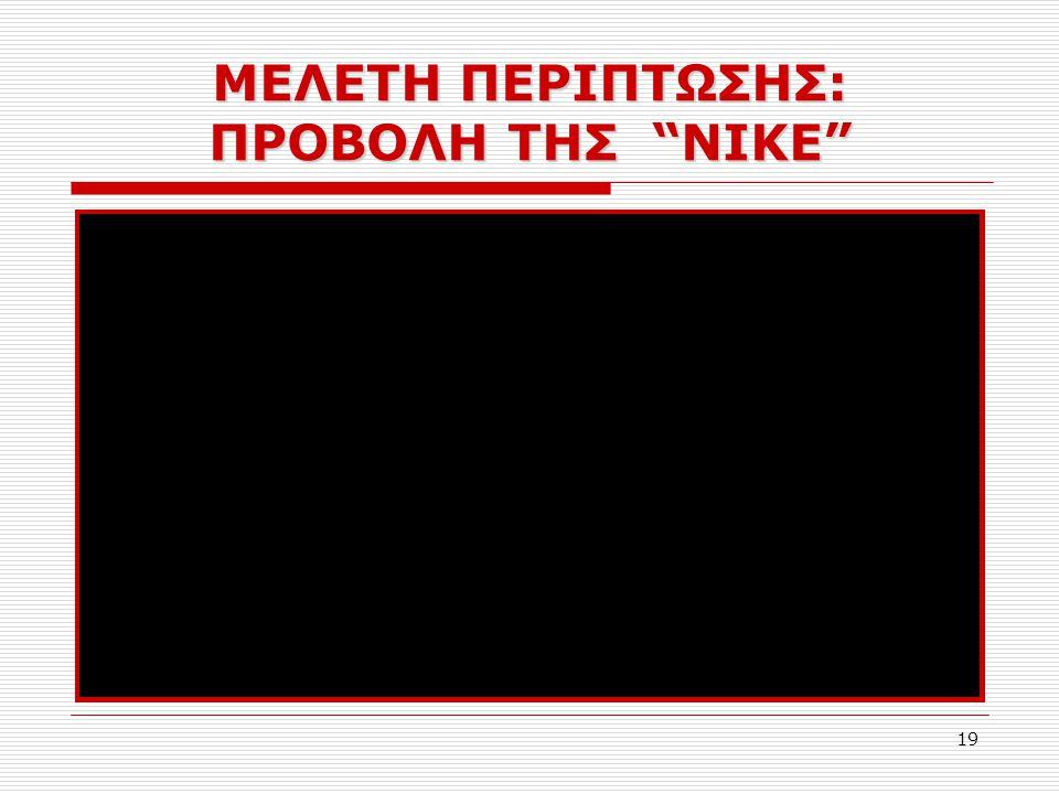 """19 ΜΕΛΕΤΗ ΠΕΡΙΠΤΩΣΗΣ: ΠΡΟΒΟΛΗ ΤΗΣ """"NIKE"""""""
