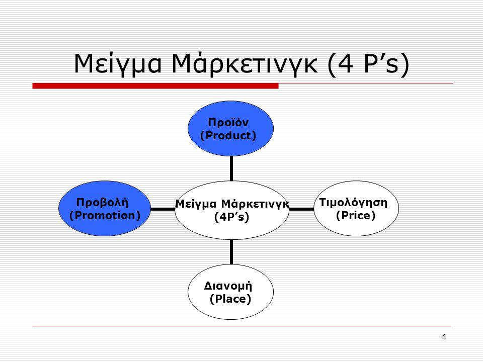 4 Μείγμα Μάρκετινγκ (4 P's) Μείγμα Μάρκετινγκ (4P's) Προϊόν (Product) Τιμολόγηση (Price) Διανομή (Place) Προβολή (Promotion)