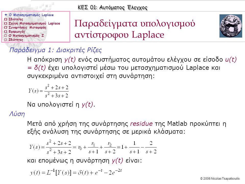 ΚΕΣ 01: Αυτόματος Έλεγχος © 2006 Nicolas Tsapatsoulis Παράδειγμα 1: Διακριτές Ρίζες Η απόκριση y(t) ενός συστήματος αυτομάτου ελέγχου σε είσοδο u(t) =
