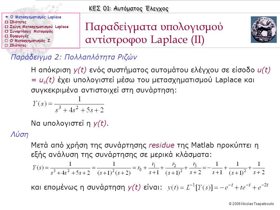 ΚΕΣ 01: Αυτόματος Έλεγχος © 2006 Nicolas Tsapatsoulis Παράδειγμα 2: Πολλαπλότητα Ριζών Η απόκριση y(t) ενός συστήματος αυτομάτου ελέγχου σε είσοδο u(t