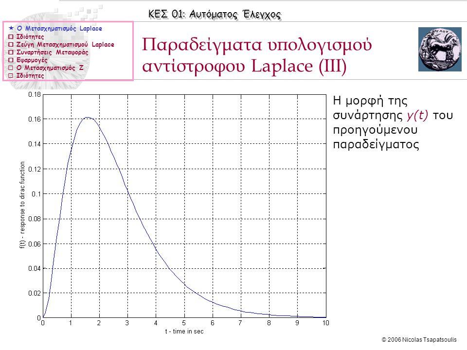 ΚΕΣ 01: Αυτόματος Έλεγχος © 2006 Nicolas Tsapatsoulis Παραδείγματα υπολογισμού αντίστροφου Laplace (IIΙ)  Ο Μετασχηματισμός Laplace  Ιδιότητες  Ζεύ