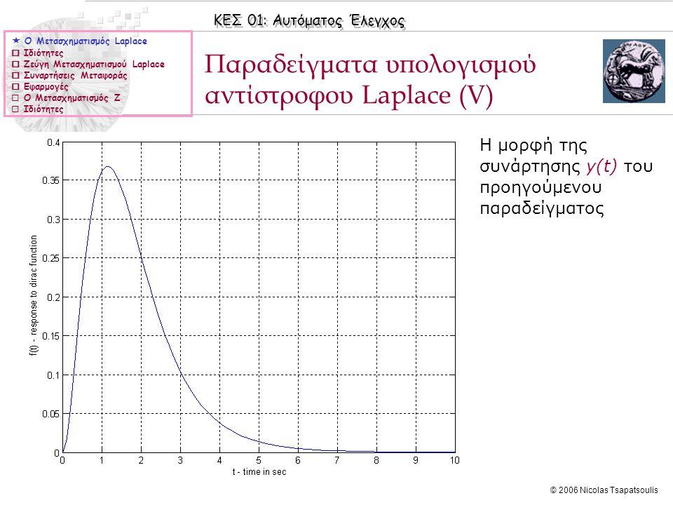 ΚΕΣ 01: Αυτόματος Έλεγχος © 2006 Nicolas Tsapatsoulis Παραδείγματα υπολογισμού αντίστροφου Laplace (V)  Ο Μετασχηματισμός Laplace  Ιδιότητες  Ζεύγη