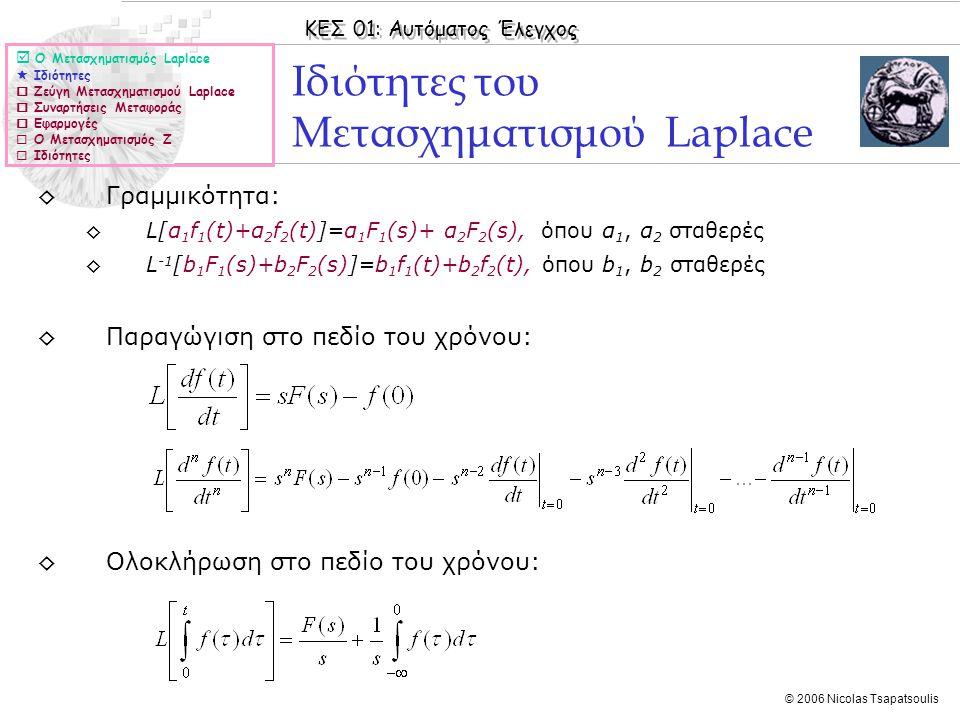 ΚΕΣ 01: Αυτόματος Έλεγχος © 2006 Nicolas Tsapatsoulis ◊Γραμμικότητα: ◊L[α 1 f 1 (t)+α 2 f 2 (t)]=α 1 F 1 (s)+ α 2 F 2 (s), όπου α 1, α 2 σταθερές ◊L -
