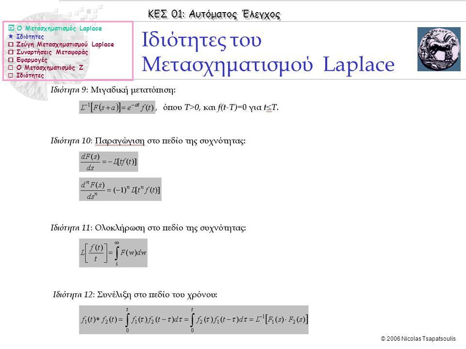 ΚΕΣ 01: Αυτόματος Έλεγχος © 2006 Nicolas Tsapatsoulis Ιδιότητες του Μετασχηματισμού Laplace  Ο Μετασχηματισμός Laplace  Ιδιότητες  Ζεύγη Μετασχηματ
