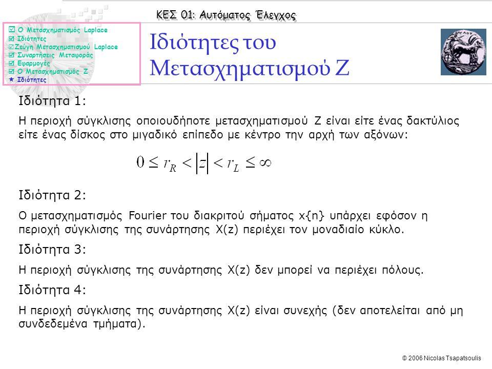 ΚΕΣ 01: Αυτόματος Έλεγχος © 2006 Nicolas Tsapatsoulis Ιδιότητες του Μετασχηματισμού Ζ Ιδιότητα 1: Η περιοχή σύγκλισης οποιουδήποτε μετασχηματισμού Ζ ε