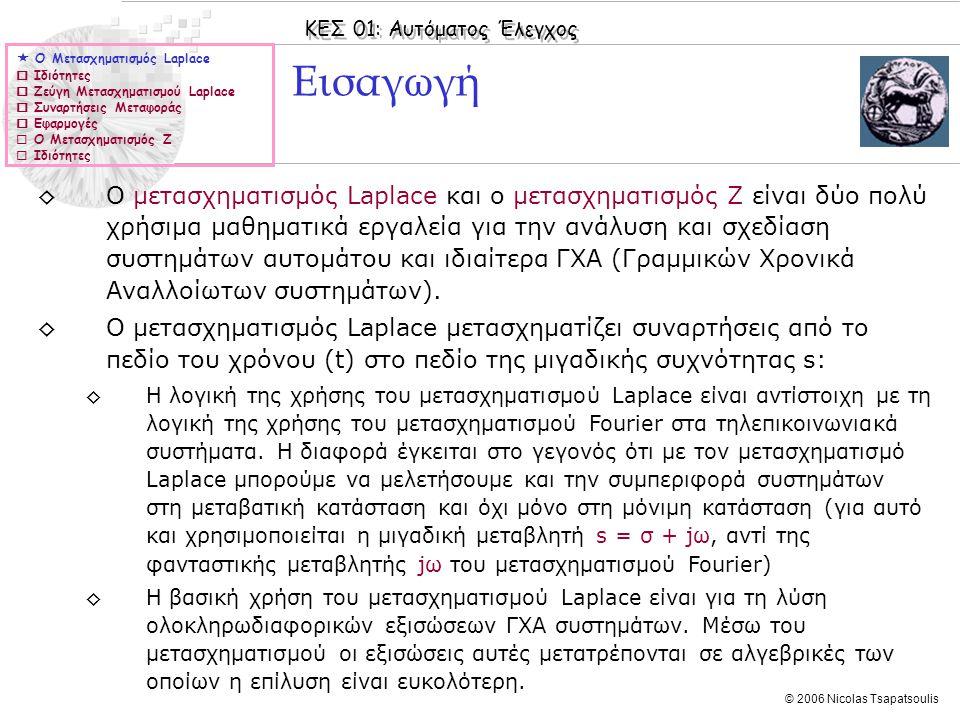 ΚΕΣ 01: Αυτόματος Έλεγχος © 2006 Nicolas Tsapatsoulis ◊Ο μετασχηματισμός Laplace και ο μετασχηματισμός Z είναι δύο πολύ χρήσιμα μαθηματικά εργαλεία γι