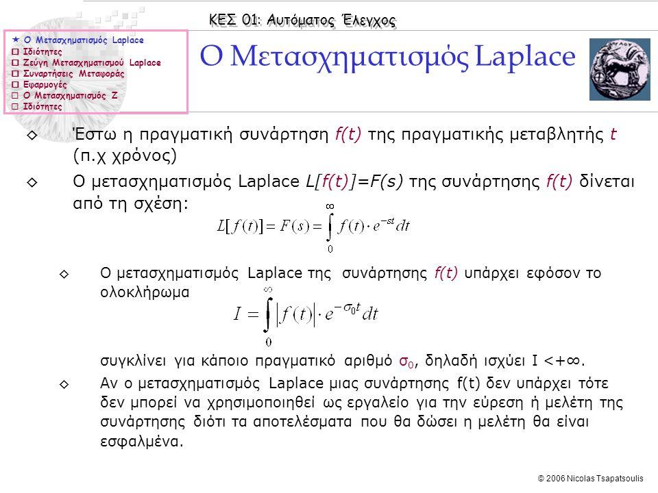 ΚΕΣ 01: Αυτόματος Έλεγχος © 2006 Nicolas Tsapatsoulis ◊Έστω η πραγματική συνάρτηση f(t) της πραγματικής μεταβλητής t (π.χ χρόνος) ◊Ο μετασχηματισμός L