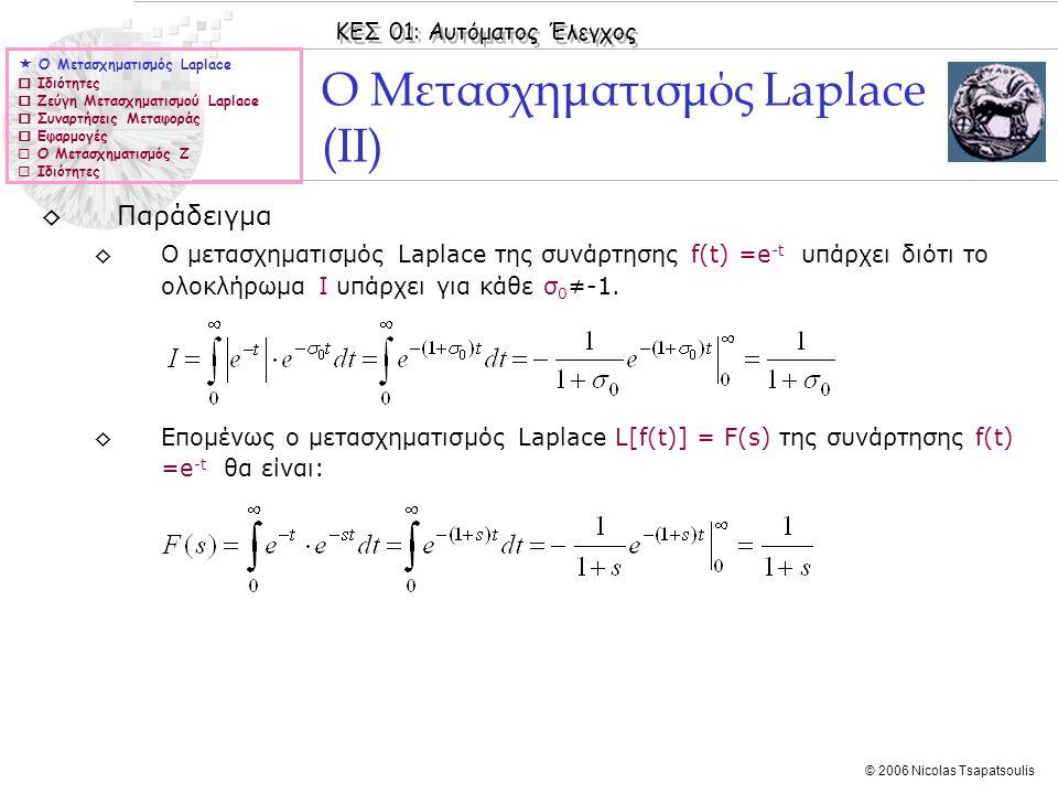 ΚΕΣ 01: Αυτόματος Έλεγχος © 2006 Nicolas Tsapatsoulis ◊Παράδειγμα ◊Ο μετασχηματισμός Laplace της συνάρτησης f(t) =e -t υπάρχει διότι το ολοκλήρωμα I υ
