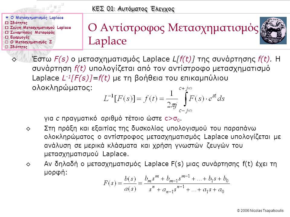 ΚΕΣ 01: Αυτόματος Έλεγχος © 2006 Nicolas Tsapatsoulis ◊Έστω F(s) ο μετασχηματισμός Laplace L[f(t)] της συνάρτησης f(t). Η συνάρτηση f(t) υπολογίζεται