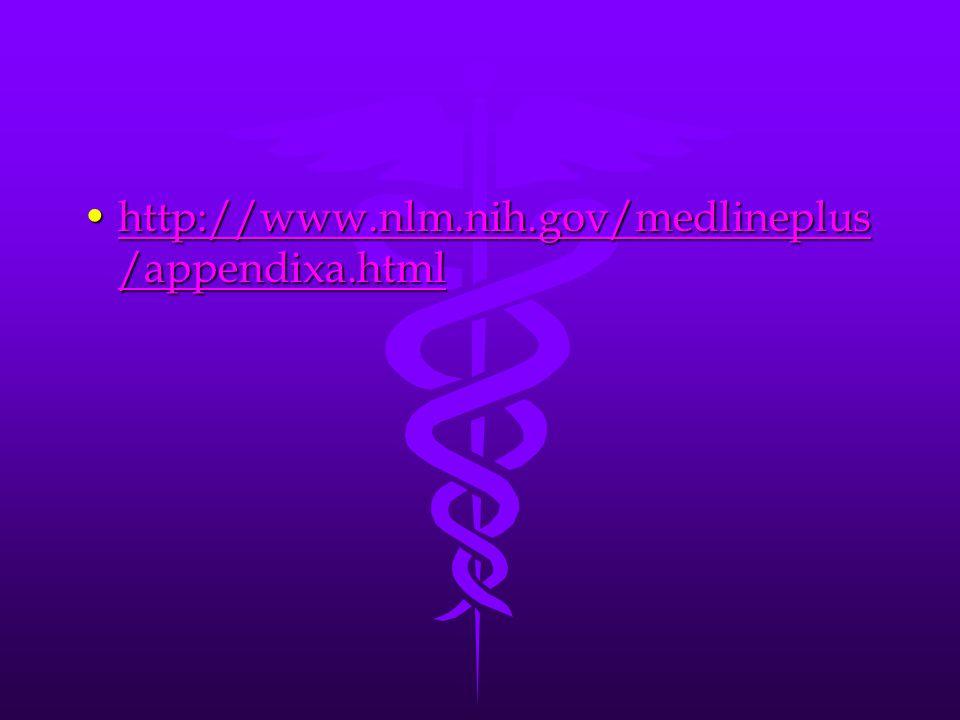 http://www.nlm.nih.gov/medlineplus /appendixa.htmlhttp://www.nlm.nih.gov/medlineplus /appendixa.htmlhttp://www.nlm.nih.gov/medlineplus /appendixa.htmlhttp://www.nlm.nih.gov/medlineplus /appendixa.html