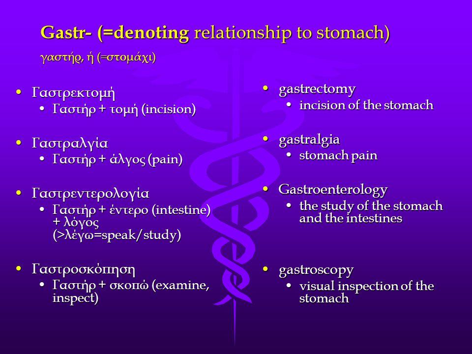 Gastr- (=denoting relationship to stomach) γαστήρ, ἡ (=στομάχι) gastrectomygastrectomy incision of the stomachincision of the stomach gastralgiagastralgia stomach painstomach pain GastroenterologyGastroenterology the study of the stomach and the intestinesthe study of the stomach and the intestines gastroscopygastroscopy visual inspection of the stomachvisual inspection of the stomach ΓαστρεκτομήΓαστρεκτομή Γαστήρ + τομή (incision) ΓαστραλγίαΓαστραλγία Γαστήρ + άλγος (pain) ΓαστρεντερολογίαΓαστρεντερολογία Γαστήρ + έντερο (intestine) + λόγος (>λέγω=speak/study) ΓαστροσκόπησηΓαστροσκόπηση Γαστήρ + σκοπώ (examine, inspect)