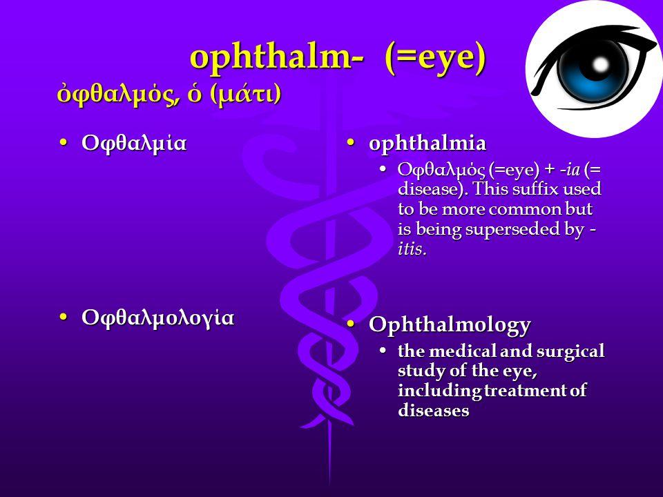 ophthalm- (=eye) ὀ φθαλμός, ὁ (μάτι) Οφθαλμία Οφθαλμία Oφθαλμολογία Oφθαλμολογία ophthalmia ophthalmia Οφθαλμός (=eye) + -ia (= disease).