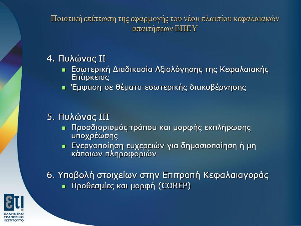 Ποιοτική επίπτωση της εφαρμογής του νέου πλαισίου κεφαλαιακών απαιτήσεων ΕΠΕΥ 4.