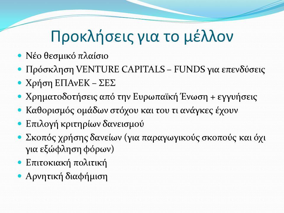 Προκλήσεις για το μέλλον Νέο θεσμικό πλαίσιο Πρόσκληση VENTURE CAPITALS – FUNDS για επενδύσεις Χρήση ΕΠΑνΕΚ – ΣΕΣ Χρηματοδοτήσεις από την Ευρωπαϊκή Έν