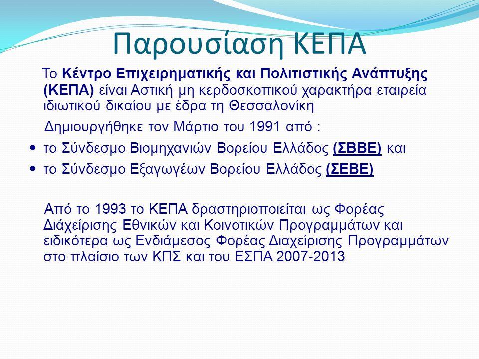 Παρουσίαση ΚΕΠΑ Το Κέντρο Επιχειρηματικής και Πολιτιστικής Ανάπτυξης (ΚΕΠΑ) είναι Αστική μη κερδοσκοπικού χαρακτήρα εταιρεία ιδιωτικού δικαίου με έδρα