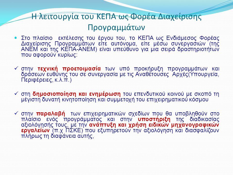 Η λειτουργία του ΚΕΠΑ ως Φορέα Διαχείρισης Προγραμμάτων Στο πλαίσιο εκτέλεσης του έργου του, το ΚΕΠΑ ως Ενδιάμεσος Φορέας Διαχείρισης Προγραμμάτων είτ