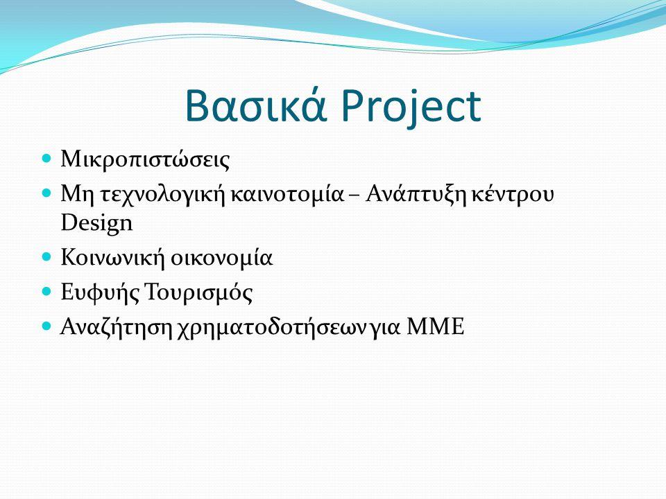 Βασικά Project Μικροπιστώσεις Μη τεχνολογική καινοτομία – Ανάπτυξη κέντρου Design Κοινωνική οικονομία Ευφυής Τουρισμός Αναζήτηση χρηματοδοτήσεων για Μ
