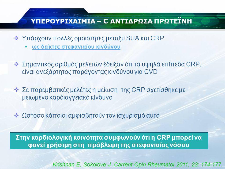 ΥΠΕΡΟΥΡΙΧΑΙΜΙΑ – C ΑΝΤΙΔΡΩΣΑ ΠΡΩΤΕΪΝΗ  Η μελέτη JUPITER απέδειξε ότι:  Άτομα με αυξημένη CRP, και με φυσιολογικά επίπεδα LDL  Η έναρξη HMG-CoA (στατίνες) μείωνε τον κίνδυνο για καργιαγγειακά συμβάματα - έμφραγμα του μυοκαρδίου - εγκεφαλικό επεισόδιο - την ανάγκη καρδιακής επαναιμάτωσης - τη θνητότητα από κάθε αιτία Είναι πού πιθανό, η χορήγηση υποουριχαιμικής θεραπείας να επιφέρει παρόμοια οφέλη Ridker PM,et al.