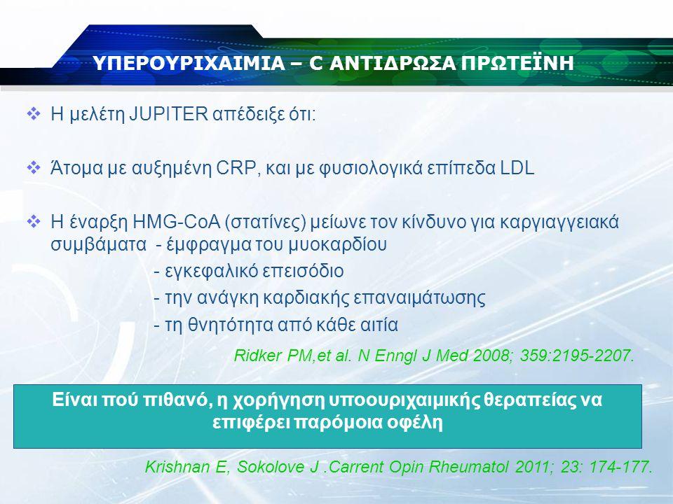 ΥΠΕΡΟΥΡΙΧΑΙΜΙΑ – C ΑΝΤΙΔΡΩΣΑ ΠΡΩΤΕΪΝΗ  Η μελέτη JUPITER απέδειξε ότι:  Άτομα με αυξημένη CRP, και με φυσιολογικά επίπεδα LDL  Η έναρξη HMG-CoA (στα