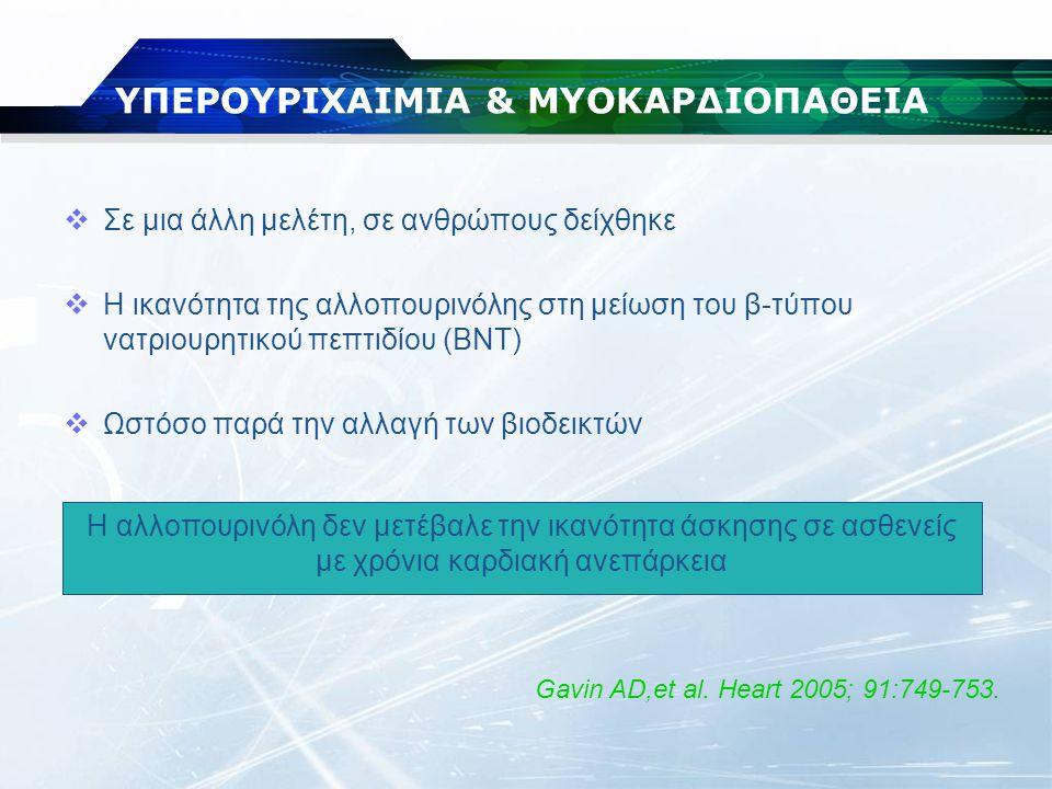  Σε μια άλλη μελέτη, σε ανθρώπους δείχθηκε  Η ικανότητα της αλλοπουρινόλης στη μείωση του β-τύπου νατριουρητικού πεπτιδίου (BNT)  Ωστόσο παρά την α