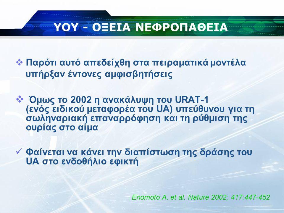 ΥΟΥ - ΟΞΕΙΑ ΝΕΦΡΟΠΑΘΕΙΑ  Παρότι αυτό απεδείχθη στα πειραματικά μοντέλα υπήρξαν έντονες αμφισβητήσεις  Όμως το 2002 η ανακάλυψη του URAT-1 (ενός ειδι
