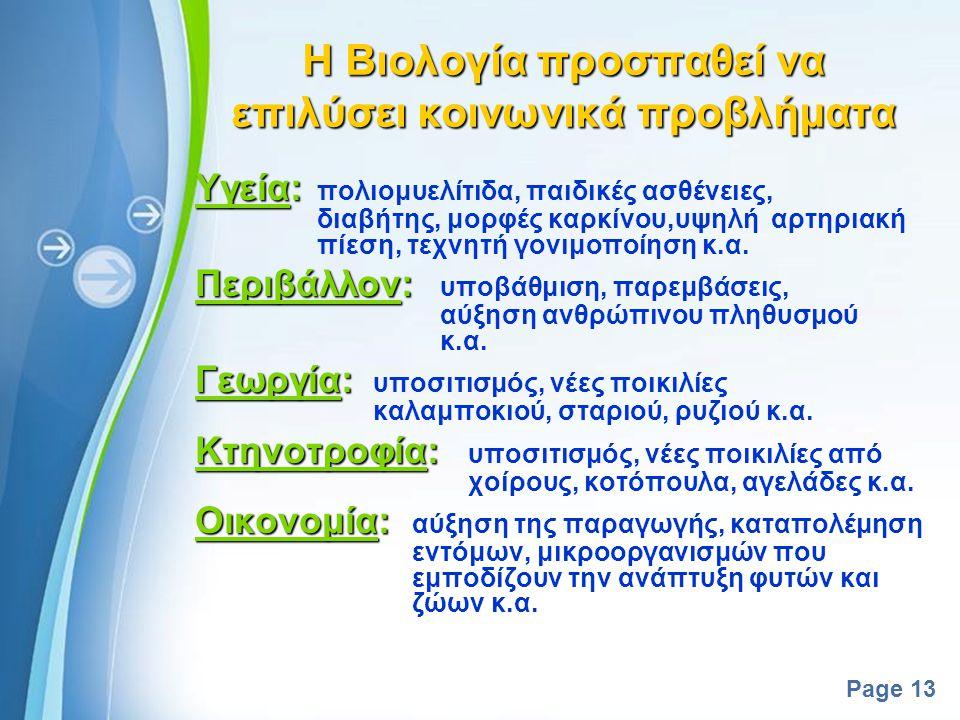 Powerpoint Templates Page 12 Μελετά τα διαφορετικά επίπεδα βιολογικής οργάνωσης Μελετά τα διαφορετικά επίπεδα βιολογικής οργάνωσης o Μόριο o Κύτταρο o