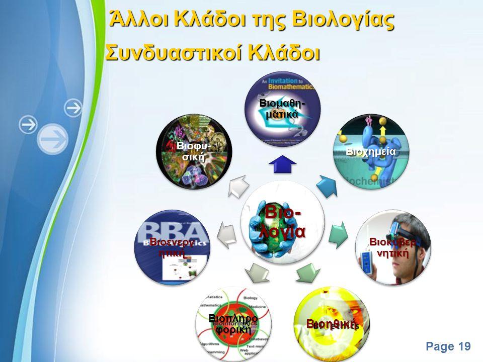 Powerpoint Templates Page 18 Άλλοι Κλάδοι της Βιολογίας Βιολογία του ανθρώπου