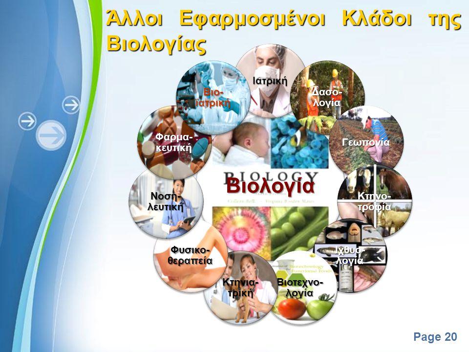 Powerpoint Templates Page 19 19 Άλλοι Κλάδοι της Βιολογίας Συνδυαστικοί Κλάδοι Βιο- λογία Βιομαθη- ματικά Βιοχημεία Βιοκυβερ νητική Βιοηθική Βιοπληρο