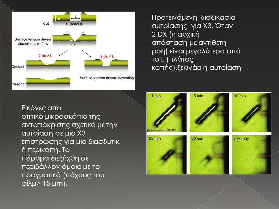 Εικόνες από οπτικό μικροσκόπιο της ανταπόκρισης σχετικά με την αυτοίαση σε μια X3 επίστρωσης για μια διεισδυτικ ή περικοπή. Το πείραμα διεξήχθη σε περ