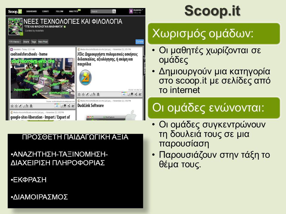 Χωρισμός ομάδων: Οι μαθητές χωρίζονται σε ομάδες Δημιουργούν μια κατηγορία στο scoop.it με σελίδες από το internet Οι ομάδες ενώνονται: Οι ομάδες συγκεντρώνουν τη δουλειά τους σε μια παρουσίαση Παρουσιάζουν στην τάξη το θέμα τους.Scoop.it ΠΡΟΣΘΕΤΗ ΠΑΙΔΑΓΩΓΙΚΗ ΑΞΙΑ ΑΝΑΖΗΤΗΣΗ-ΤΑΞΙΝΟΜΗΣΗ- ΔΙΑΧΕΙΡΙΣΗ ΠΛΗΡΟΦΟΡΙΑΣ ΕΚΦΡΑΣΗ ΔΙΑΜΟΙΡΑΣΜΟΣ ΠΡΟΣΘΕΤΗ ΠΑΙΔΑΓΩΓΙΚΗ ΑΞΙΑ ΑΝΑΖΗΤΗΣΗ-ΤΑΞΙΝΟΜΗΣΗ- ΔΙΑΧΕΙΡΙΣΗ ΠΛΗΡΟΦΟΡΙΑΣ ΕΚΦΡΑΣΗ ΔΙΑΜΟΙΡΑΣΜΟΣ