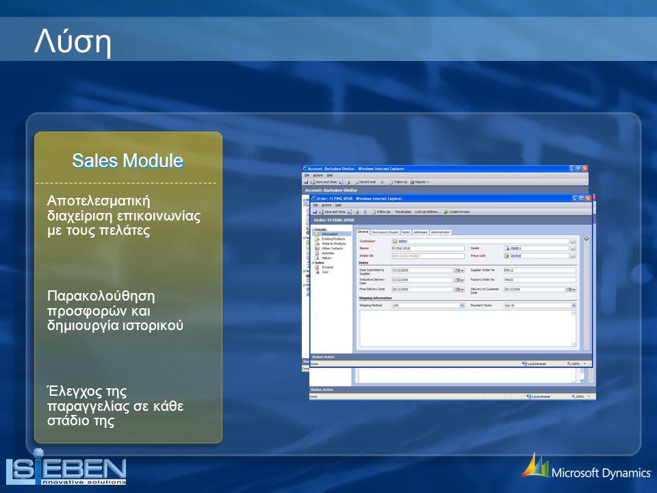 Sales Module Έλεγχος της παραγγελίας σε κάθε στάδιο της Παρακολούθηση προσφορών και δημιουργία ιστορικού Αποτελεσματική διαχείριση επικοινωνίας με τους πελάτες Λύση
