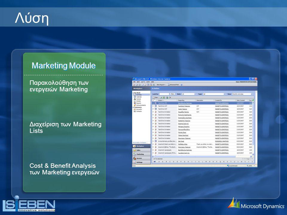 Marketing Module Διαχείριση των Marketing Lists Cost & Benefit Analysis των Marketing ενεργειών Παρακολούθηση των ενεργειών Marketing Λύση