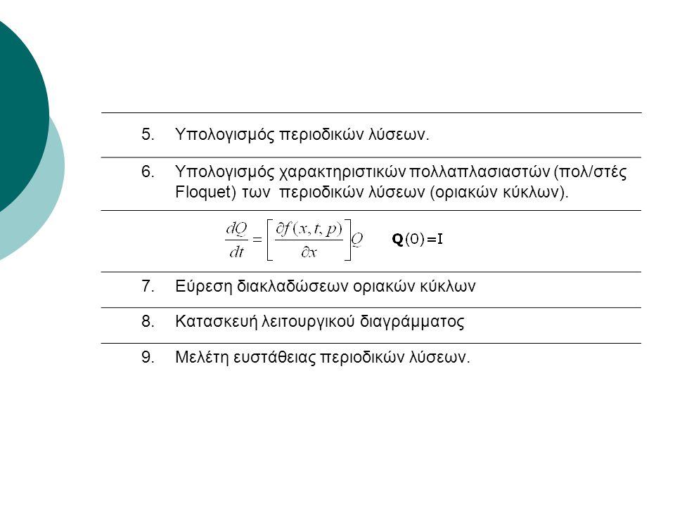 5.Υπολογισμός περιοδικών λύσεων. 6.Υπολογισμός χαρακτηριστικών πολλαπλασιαστών (πολ/στές Floquet) των περιοδικών λύσεων (οριακών κύκλων). 7.Εύρεση δια