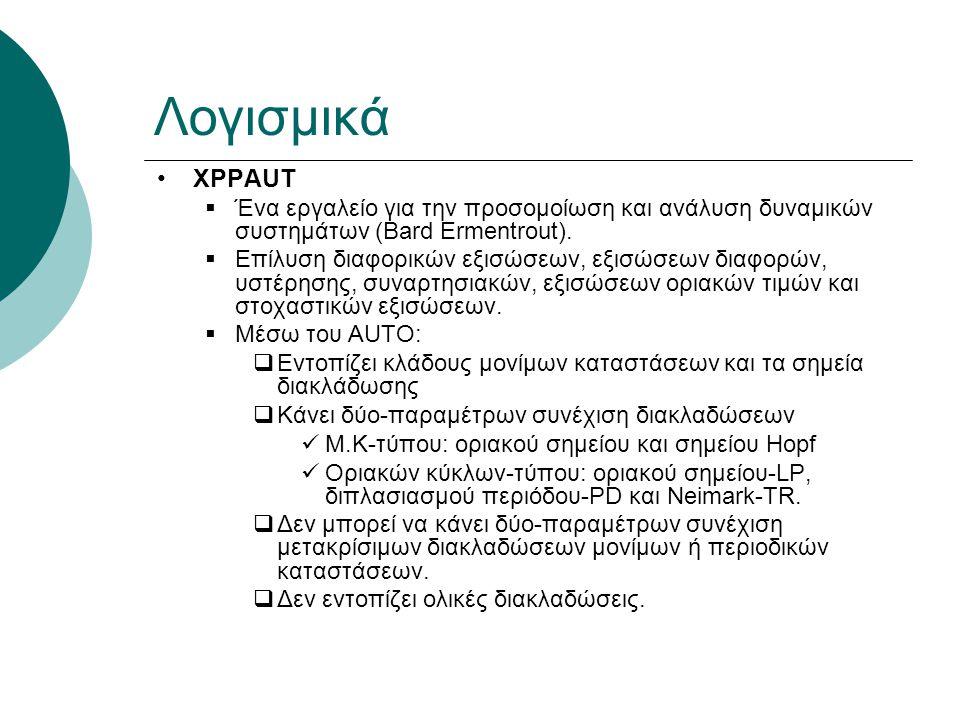 Λογισμικά XPPAUT  Ένα εργαλείο για την προσομοίωση και ανάλυση δυναμικών συστημάτων (Bard Ermentrout).  Επίλυση διαφορικών εξισώσεων, εξισώσεων διαφ