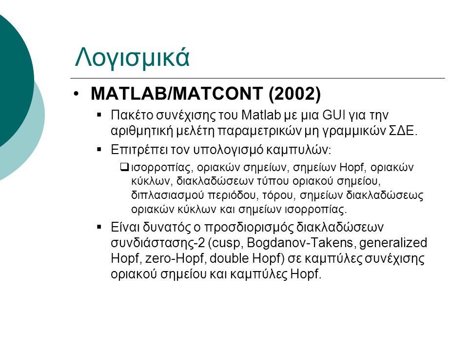 Λογισμικά MATLAB/MATCONT (2002)  Πακέτο συνέχισης του Matlab με μια GUI για την αριθμητική μελέτη παραμετρικών μη γραμμικών ΣΔΕ.  Επιτρέπει τον υπολ