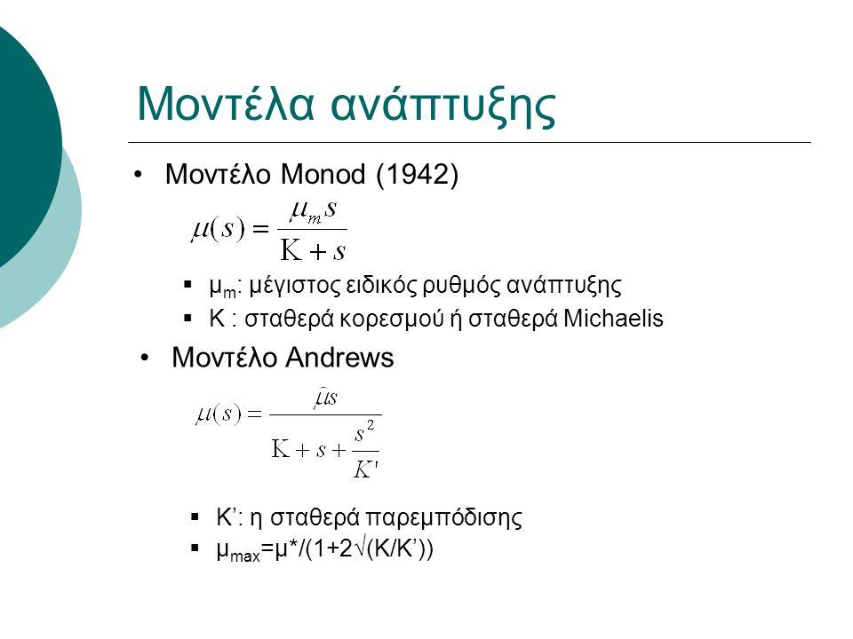 Μοντέλα ανάπτυξης Μοντέλο Monod (1942)  μ m : μέγιστος ειδικός ρυθμός ανάπτυξης  K : σταθερά κορεσμού ή σταθερά Michaelis Μοντέλο Andrews  K': η στ