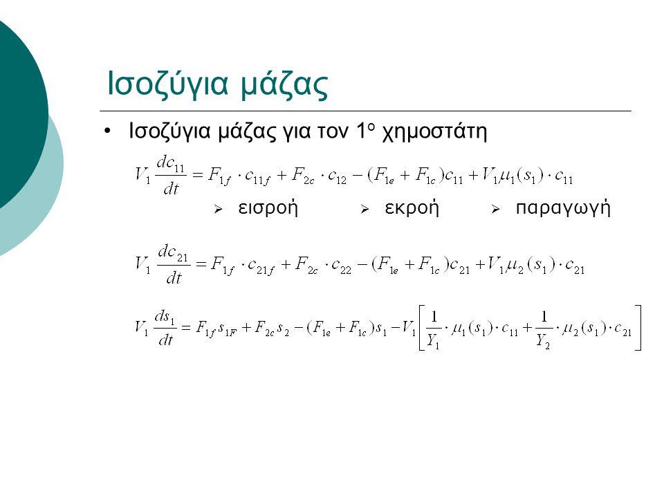 Ισοζύγια παροχών:  F 2f + F 1c = F 2e + F 2c  F 1f + F 2c = F 1e + F 1c Ισοζύγια μάζας για τον 2 ο χημοστάτη