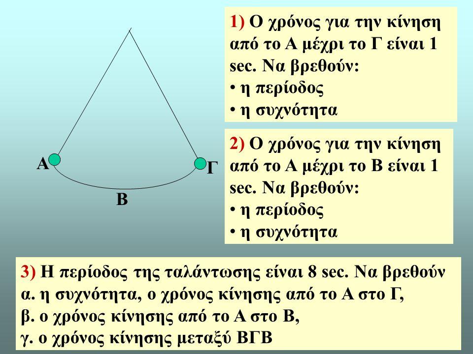 10 A B Γ 1) Ο χρόνος για την κίνηση από το Α μέχρι το Γ είναι 1 sec.