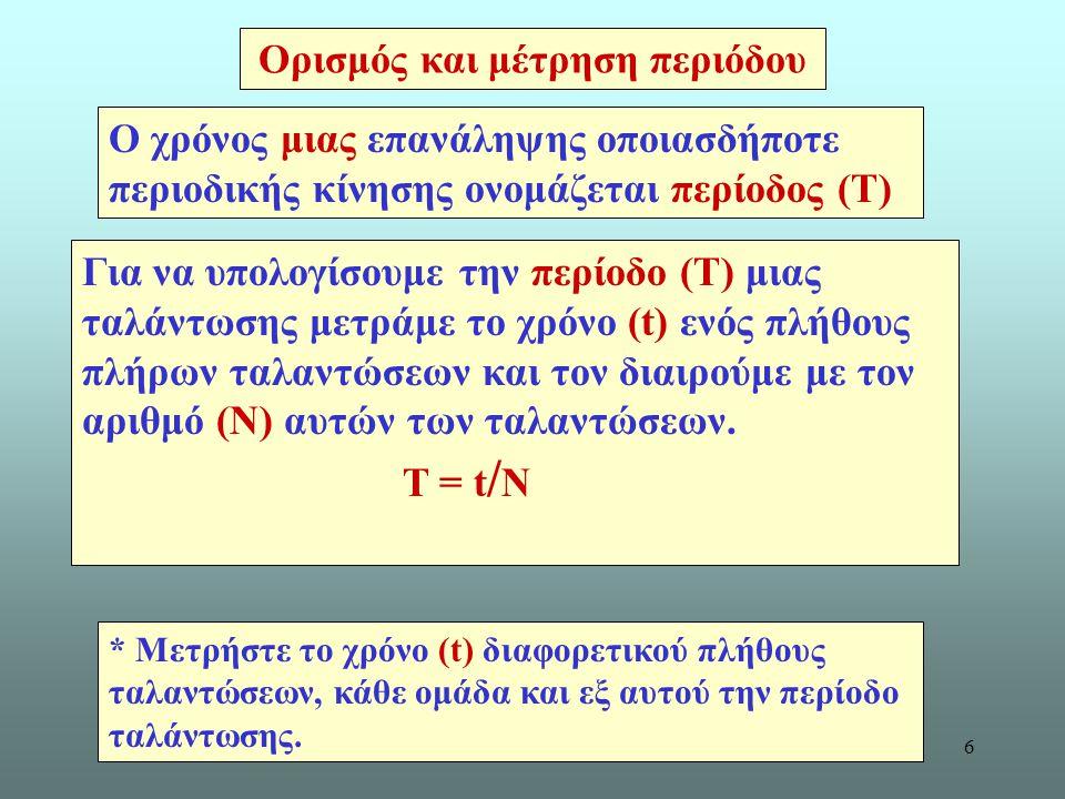 6 Ορισμός και μέτρηση περιόδου Για να υπολογίσουμε την περίοδο (Τ) μιας ταλάντωσης μετράμε το χρόνο (t) ενός πλήθους πλήρων ταλαντώσεων και τον διαιρούμε με τον αριθμό (N) αυτών των ταλαντώσεων.