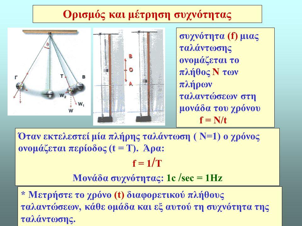 7 συχνότητα (f) μιας ταλάντωσης ονομάζεται το πλήθος N των πλήρων ταλαντώσεων στη μονάδα του χρόνου f = N/t Ορισμός και μέτρηση συχνότητας Όταν εκτελεστεί μία πλήρης ταλάντωση ( Ν=1) ο χρόνος ονομάζεται περίοδος (t = Τ).