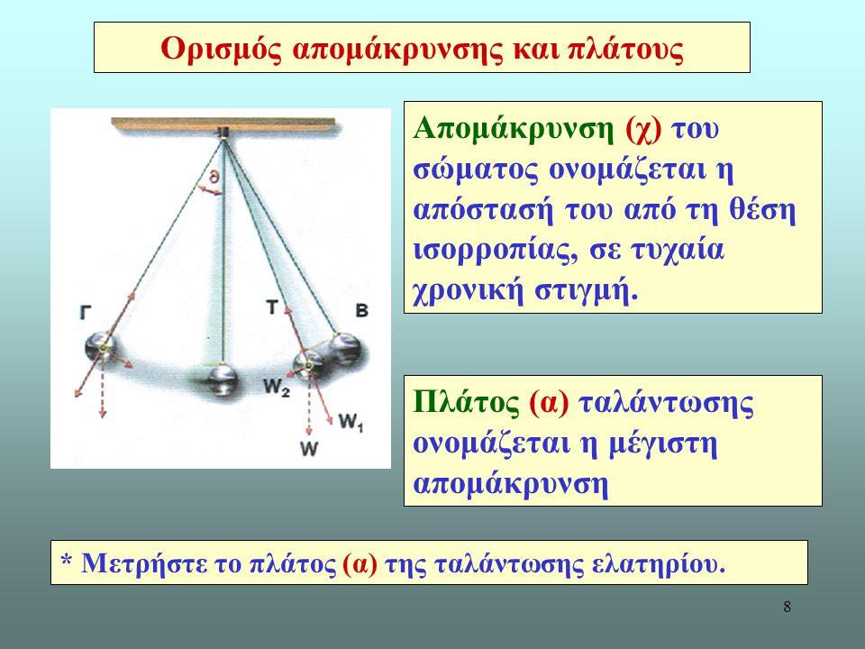 8 Ορισμός απομάκρυνσης και πλάτους Απομάκρυνση (χ) του σώματος ονομάζεται η απόστασή του από τη θέση ισορροπίας, σε τυχαία χρονική στιγμή.
