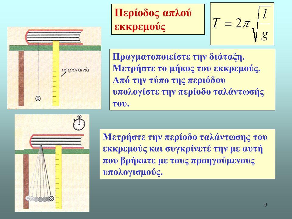 9 Μετρήστε την περίοδο ταλάντωσης του εκκρεμούς και συγκρίνετέ την με αυτή που βρήκατε με τους προηγούμενους υπολογισμούς.