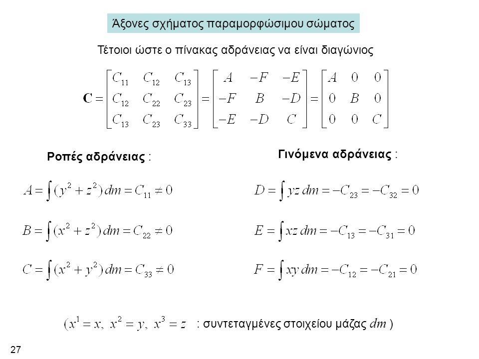 27 Άξονες σχήματος παραμορφώσιμου σώματος Τέτοιοι ώστε ο πίνακας αδράνειας να είναι διαγώνιος Ροπές αδράνειας : Γινόμενα αδράνειας : : συντεταγμένες στοιχείου μάζας dm )