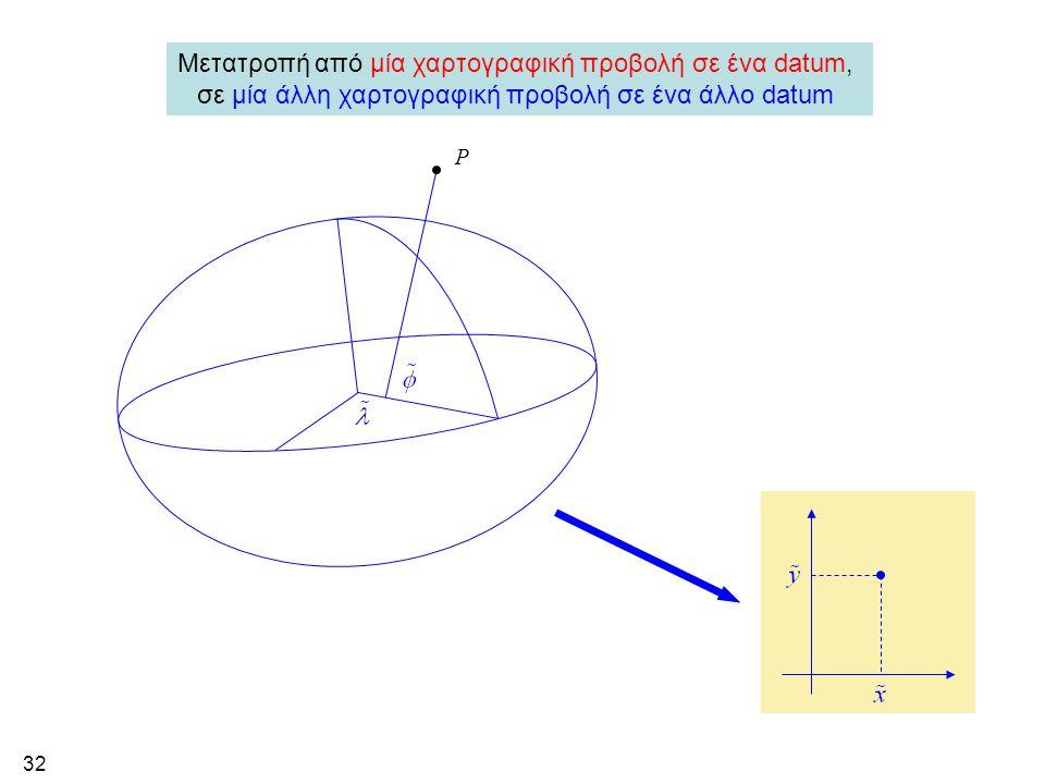 32 Μετατροπή από μία χαρτογραφική προβολή σε ένα datum, σε μία άλλη χαρτογραφική προβολή σε ένα άλλο datum P